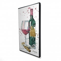 Framed 24 x 48 - 3D - Bottle of red wine