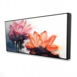 Framed 24 x 48 - 3D - Watercolor lotus flowers