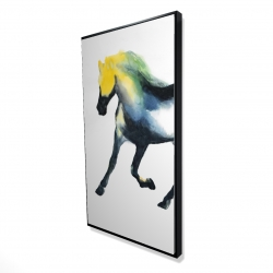Framed 24 x 48 - 3D - Galloping colorful horse
