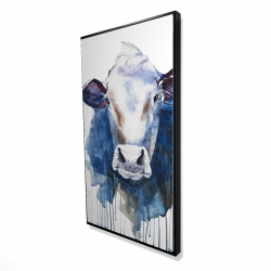 Framed 24 x 48 - 3D - Watercolor cow