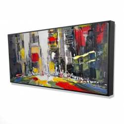 Framed 24 x 48 - 3D - Abstract texturized cityscape
