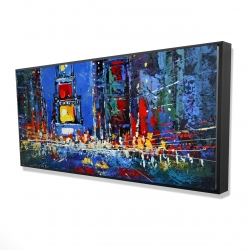 Framed 24 x 48 - 3D - Colorful and abstract times square by night