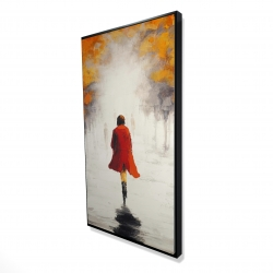 Framed 24 x 48 - 3D - Woman with a red coat by fall