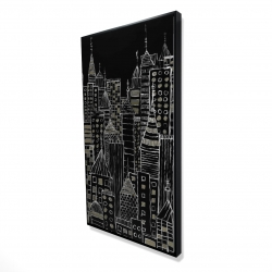 Framed 24 x 48 - 3D - Illustrative city towers