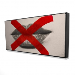 Framed 24 x 48 - 3D - Grayscale lips with a red x