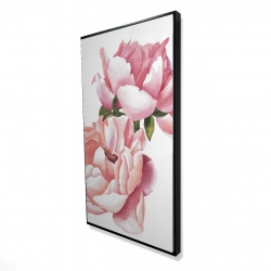 Framed 24 x 48 - 3D - Two pink watercolor roses