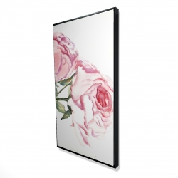 Framed 24 x 48 - 3D - Watercolor pink roses