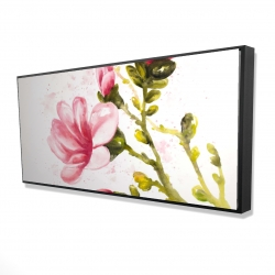 Framed 24 x 48 - 3D - Watercolor magnolia flowers