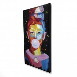 Framed 24 x 48 - 3D - Colorful audrey hepburn portrait with bubblegum