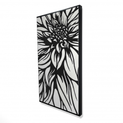Framed 24 x 48 - 3D - Dahlia flower outline style