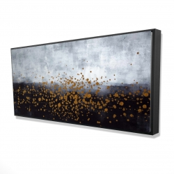Framed 24 x 48 - 3D - Gold paint splash on gray background