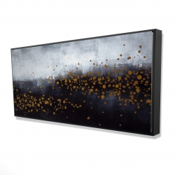 Framed 24 x 48 - 3D - Two shades of gray with gold dots