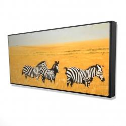 Framed 24 x 48 - 3D - Herd of zebra