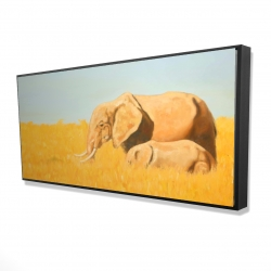 Framed 24 x 48 - 3D - Elephant and its little one