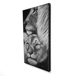 Framed 24 x 48 - 3D - Lion and lioness
