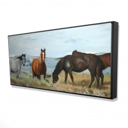 Framed 24 x 48 - 3D - Horses eating in the meadow
