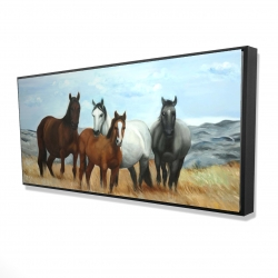 Framed 24 x 48 - 3D - Horses in the meadow by the sun