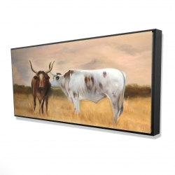 Framed 24 x 48 - 3D - Two cows kissing by sunset