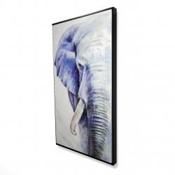 Framed 24 x 48 - 3D - Blue elephant