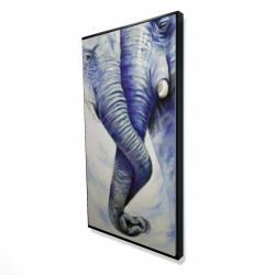 Framed 24 x 48 - 3D - Elephant couple loving each other