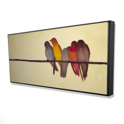 Framed 24 x 48 - 3D - Five birds on a branch