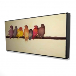 Framed 24 x 48 - 3D - Bird family