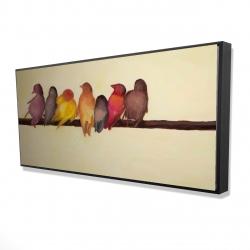 Framed 24 x 48 - 3D - Bird family