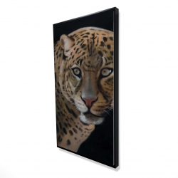 Framed 24 x 48 - 3D - Realistic fierce leopard