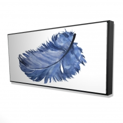 Framed 24 x 48 - 3D - Watercolor blue feather
