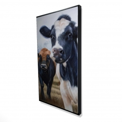 Framed 24 x 48 - 3D - Two cows eating grass