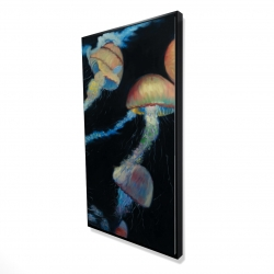 Framed 24 x 48 - 3D - Colorful jellyfishes in the dark