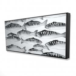 Framed 24 x 48 - 3D - Gray shoal of fish