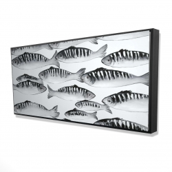 Framed 24 x 48 - 3D - Gray shoal of fish