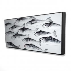 Framed 24 x 48 - 3D - Gray school of fish