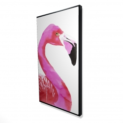 Framed 24 x 48 - 3D - Watercolor proud flamingo profile