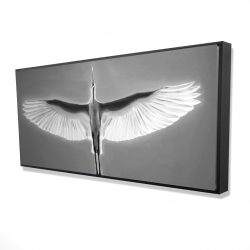 Framed 24 x 48 - 3D - Great blue heron in flight