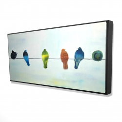 Framed 24 x 48 - 3D - Perched abstract birds
