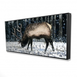 Framed 24 x 48 - 3D - Caribou in the winter forest