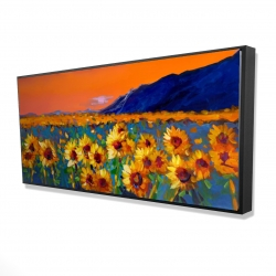 Framed 24 x 48 - 3D - Field of sunflowers