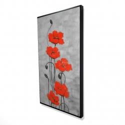 Framed 24 x 48 - 3D - Big red flowers