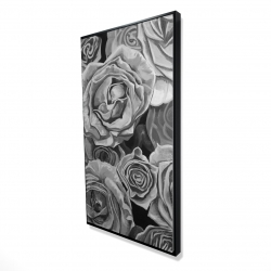 Framed 24 x 48 - 3D - Grayscale roses