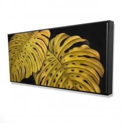 Framed 24 x 48 - 3D - Gold monstera