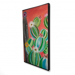 Framed 24 x 48 - 3D - Rainbow cactus