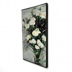 Framed 24 x 48 - 3D - Lisianthus white bouquet