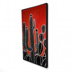 Framed 24 x 48 - 3D - Black tall cactus
