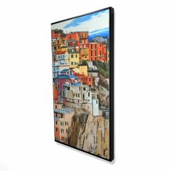 Framed 24 x 48 - 3D - View of manarola in italy