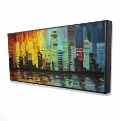 Framed 24 x 48 - 3D - City with color tones