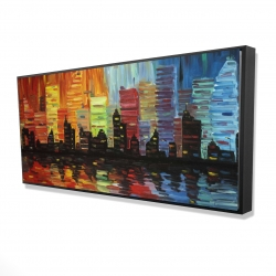 Framed 24 x 48 - 3D - Colorful cityscape
