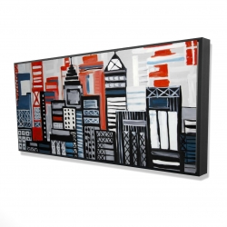 Framed 24 x 48 - 3D - Geometric urban landscape