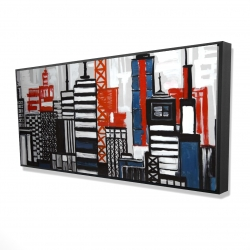 Framed 24 x 48 - 3D - Geometric towers and buildings